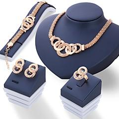 Σετ Κοσμημάτων Στρας Μοναδικό Στρας Κοσμήματα Χρυσό Ασημί 1 Ζευγάρι σκουλαρίκια Κολιέ Cercei Δακτυλίδια Για Γάμου Πάρτι Καθημερινά 1set