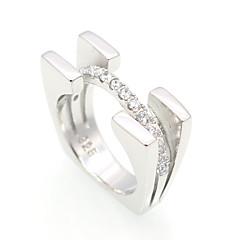 Anéis Grossos Zircônia cúbica Circular Geométrico Circulo Dupla camada Moda Vintage Personalizado Euramerican Jóias de LuxoPrata de Lei
