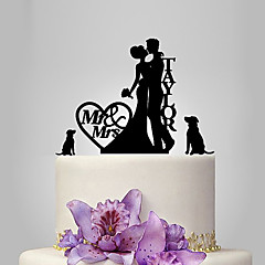 Personalized Acrylic Bride And Groom With Dog Wedding Cake Topper