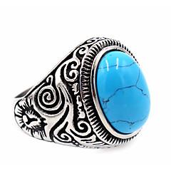 בגדי ריקוד גברים בגדי ריקוד נשים טבעת טורקיז עיצוב בייסיק עיצוב מיוחד תכשיטים פלדת על חלד טופז Round Shape תכשיטים עבור יומי קזו'אל חג
