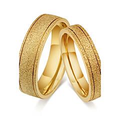 Casal Anéis de Casal Anéis Grossos Anel Vintage Estilo simples Clássico Aço Titânio Forma Redonda Jóias ParaCasamento Festa Noivado