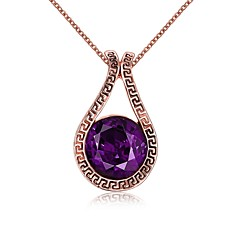 Women's Choker Necklaces Pendant Necklaces Amethyst Crystal Cubic Zirconia Geometric IrregularRose Gold Organic Glass Crystal Cubic
