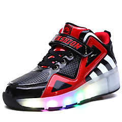 Děti Chlapecké Obuv na skate LED světlo Prodyšné Nastavitelná Vodní modrá/Bílá/Černá/Rubínově červená