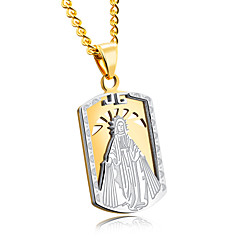 Rectangular army card titanium steel man necklace Notre Dame ornamental space golden pendant