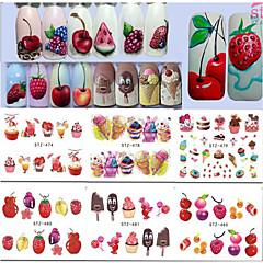 15 Neglekunst Klistermærke Vandoverførings klistermærke Piger & unge kvinder Makeup Kosmetik Neglekunst Design
