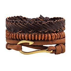Heren Dames Strand Armbanden Lederen armbanden Sieraden Modieus PERSGepersonaliseerd Hip-hop Met de hand gemaakt Doe-het-zelf Leder Hout
