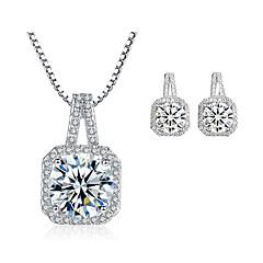 Dámské Peckové náušnice Náhrdelník Kubický zirkon Módní luxusní šperky Zirkon Slitina Square Shape Geometric Shape Pro Svatební Svatební