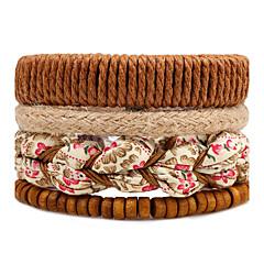 Heren Dames Strand Armbanden Wikkelarmbanden Modieus Bohemia Style Verstelbaar Multi-ways Wear Doe-het-zelf Hout Ronde vorm Bloemvorm