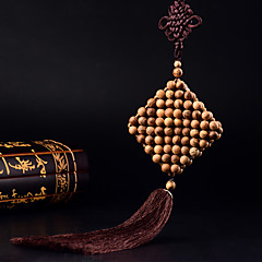 Diy pendentes automotivos madeira handmade nó chinês borla moda boa sorte carro pendente&Ornamentos thymelaeaceae