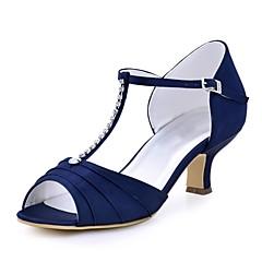 """נשים נעלי חתונה בלרינה בייסיק סאטן נמתח קיץ חתונה שמלה קריסטל אבזם עקב עבה שחור כחול כהה אדום ירוק כחול ס""""מ 5 - ס""""מ 7"""