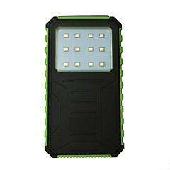 12000mah 12led 5v2a携帯電話用ソーラーチャージ付き防水パワーバンク