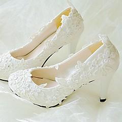Feminino Sapatos De Casamento Chanel Renda Couro Ecológico Primavera Outono Casamento Social Festas & NoitePedrarias Apliques Gliter com