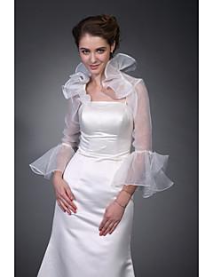 lange mouwen organza bruids-jack / bruiloft wrap (wsm0404)