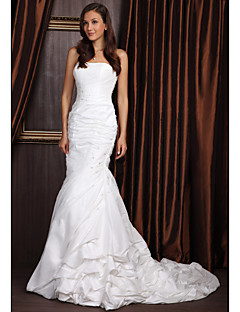 Sheath/Column Wedding Dress - Ivory Sweep/Brush Train Strapless Taffeta