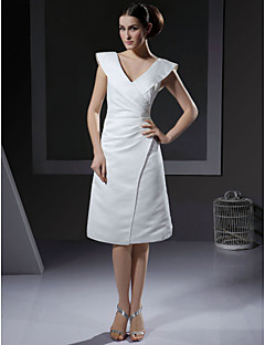Lanting A-line V-neck Knee-length Satin Wedding Dress