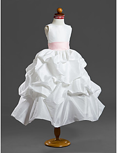 LAN TING BRIDE Ball Gown Tea-length Flower Girl Dress - Taffeta Scoop with Pick Up Skirt Sash / Ribbon Ruffles