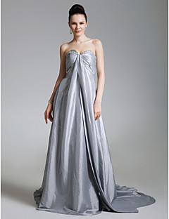 Formal Evening Dress - Silver Plus Sizes A-line/Princess Strapless/Sweetheart Court Train Taffeta