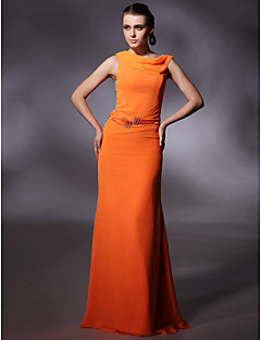 Prom/Military Ball/Formal Evening Dress - Orange Plus Sizes Sheath/Column Cowl Floor-length Chiffon