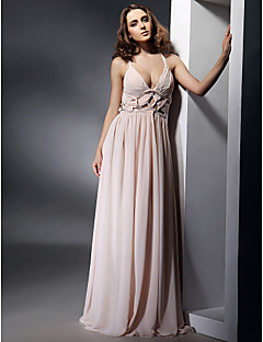 TS Couture® Formal Evening / Military Ball Dress - Open Back Plus Size / Petite Sheath / Column V-neck / Straps Floor-length Chiffon with Draping