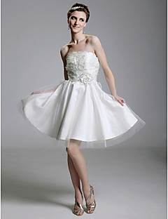 A-line/Princess Plus Sizes Wedding Dress - White Short/Mini Strapless Satin/Organza