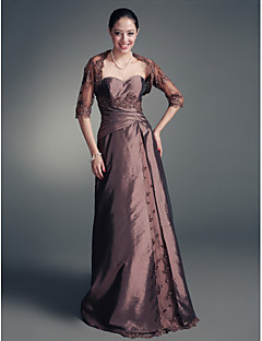 A-line Plus Sizes Mother of the Bride Dress - Brown Floor-length Half Sleeve Lace/Taffeta