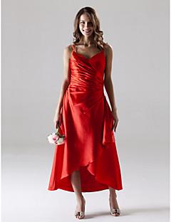 Lanting Bride® Tea-length / Asymmetrical Stretch Satin Bridesmaid Dress - A-line Spaghetti Straps Plus Size / Petite with Side Draping