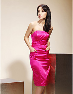 Lanting Bride® Knee-length Stretch Satin Bridesmaid Dress - Sheath / Column Strapless Plus Size / Petite with Pockets