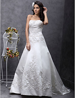 LAN TING BRIDE A-line Princess Wedding Dress - Classic & Timeless Elegant & Luxurious Vintage Inspired Sweep / Brush Train Strapless Satin