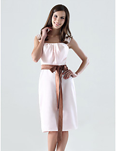 Lanting Bride® Al ginocchio Raso Vestito da damigella - A tubino A sottoveste Taglia forte / Minuta conFiocco (fiocchi) / Drappeggio /
