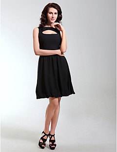 TS Couture Cocktail Party Holiday Dress - Celebrity Style Little Black Dress A-line Princess Bateau Knee-length Chiffon with Draping