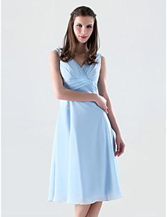 Lanting Knee-length Chiffon Bridesmaid Dress - Sky Blue Plus Sizes / Petite A-line / Princess V-neck