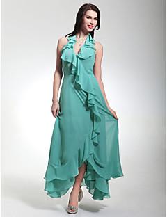저녁 정장파티/밀리터리 볼 드레스 - 제이드 시스/컬럼 티 길이/비대칭 홀터/V넥 쉬폰 플러스 사이즈