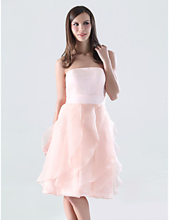 Knee-length Satin / Organza Bridesmaid Dress - Pearl Pink Plus Sizes / Petite A-line Strapless