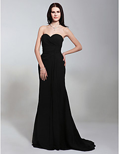 TS Couture® Formal Evening / Military Ball Dress - Black Plus Sizes / Petite Trumpet/Mermaid Strapless / Sweetheart Sweep/Brush Train Chiffon