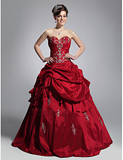 TS Couture Prom / Formal Evening / Quinceanera / Sweet 16 Dress - Burgundy Plus Sizes / Petite Ball Gown Strapless / Sweetheart Floor-length Taffeta