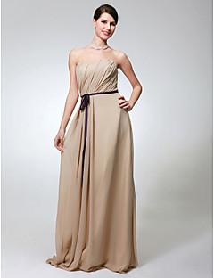 Lanting Bride® Longueur Sol Mousseline de soie Robe de Demoiselle d'Honneur - Fourreau / Colonne Sans Bretelles Grande Taille / Petite