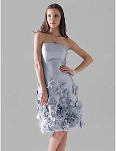 Cocktail Party/Wedding Party Dress - Silver Plus Sizes Sheath/Column Strapless Knee-length Taffeta