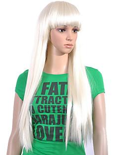 sin tapa extra larga de alta calidad de grado sintética blanca peluca pelo lacio (0463-lpp608)