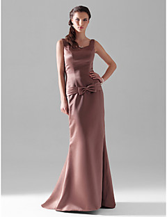 Floor-length Satin Bridesmaid Dress - Brown Plus Sizes / Petite Sheath/Column V-neck / Straps