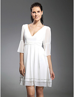 TS Couture Cocktail Party / Graduation Dress - White Plus Sizes / Petite A-line / Princess V-neck Short/Mini Chiffon