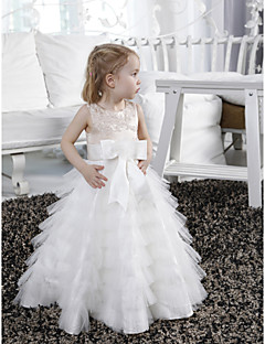 Lanting Bride A-line / Princess Floor-length Flower Girl Dress - Satin / Tulle Sleeveless Jewel withAppliques / Beading / Bow(s) / Sash /