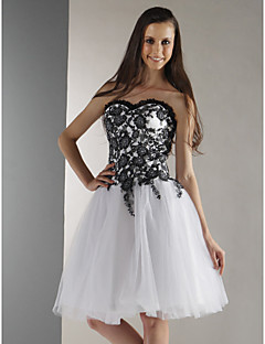 Cocktail Party/Prom/Graduation/Holiday/Sweet 16 Dress - White Plus Sizes Ball Gown Strapless/Sweetheart Knee-length Tulle/Lace