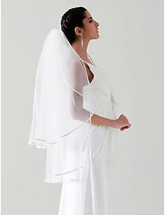 Wedding Veil Two-tier Fingertip Veils Veils for Short Hair Ribbon Edge 37.4 in (95cm) Tulle White IvoryA-line, Ball Gown, Princess,