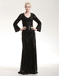 Formal Evening/Military Ball Dress - Black Plus Sizes Sheath/Column V-neck Floor-length Sequined