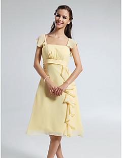 동창회 무릎 길이 쉬폰 들러리 드레스 - 선화 플러스 라인 스트랩 / 평방 크기