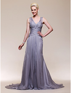 Formal Evening Dress Plus Sizes Trumpet/Mermaid V-neck Court Train Chiffon/Stretch Satin