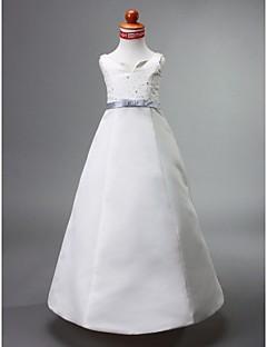 A-line / Princess Floor-length Flower Girl Dress - Satin Sleeveless Notched with Beading / Bow(s) / Sash / Ribbon