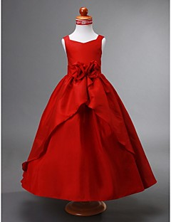 Ball Gown Ankle-length Flower Girl Dress - Taffeta Sleeveless