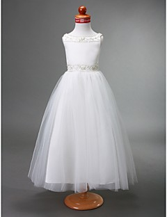 Lanting Bride ® A-line / Princess Floor-length Flower Girl Dress - Satin / Tulle Sleeveless Bateau with Beading / Draping