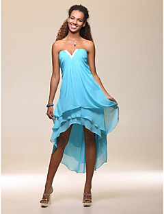 TS Couture Cocktail Party Holiday Dress - High Low Sheath / Column Strapless Notched Tea-length Asymmetrical Chiffon withBeading Side